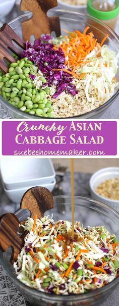 Crunchy Asian Cabbage Salad is a classic pot-luck dish that I tweaked slightly, by adding shelled edamame and adjusting the salad dressing. Still SO good! | suebeehomemaker.com