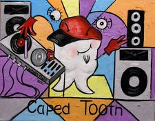 CAPED TOOTH DENTAL ART COLLECTABLE PRINT SIGNED DENTIST TEETH ANTHONY FALBO