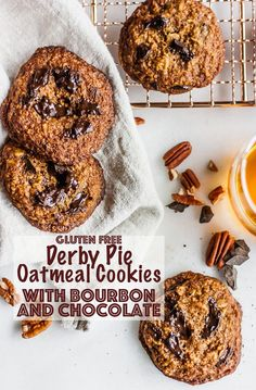 Gluten Free Derby Pie Oatmeal Cookies with Bourbon and Chocolate made with oat flour and coconut sugar for a decadent, #glutenfree, #healthier homemade #cookie. Bourbon and chocolate make these rich and chewy with the brown butter. #cookies #oatmealcookies #bourbon #chocolatechip #chocolate #baking #glutenfreebaking Derby Pie, Oatmeal Cookies, Chip Cookies, Gluten Free Cookies, Gluten Free Baking, Gluten Free Recipes, Best Chocolate Desserts, How To Make Chocolate, Healthy Dessert Recipes
