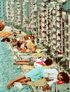 Ayham Jabr / collage, pobreza, maginación, río, ciudad