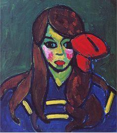 """Girl with Red Ribbon"" by Alexej von Jawlensky."