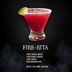 "Der Feuerball ""Fire-Rita"" ist die offizielle Margarita des Winters - Chasity Trimble The Fireball ""Fire-Rita"" Is The Official Margarita Of Winter Der Feuerball ""Fire-Rita"" ist die offizielle Fireball Drinks, Fireball Recipes, Alcohol Drink Recipes, Liquor Drinks, Cocktail Drinks, Cocktail Recipes, Alcoholic Drinks, Whiskey Cocktails, Fireball Whiskey Drinks"