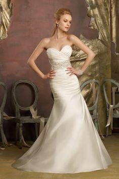 2013 Wedding Dresses Trumpet/Mermaid One Shoulder Sweep/Brush Train Satin Beading & Sequince