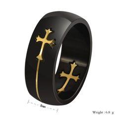 2016 New Fashion Hot Sale Cross Detachable Design Stainless Steel Men's Finger Ring anel masculino