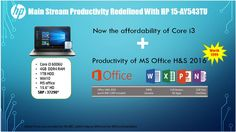 Hp introduces the most impressive #HP 15-AY543TU 1AC82PA with built in Windows10 and free Ms Office for lifetime. For Rupees 37,190/-