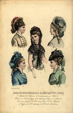 Peinados y sombreros. Hair styles and hats, 1870 Steampunk Cosplay, Steampunk Hat, Victorian Hats, Victorian Women, Victorian Fashion, 1870s Fashion, Steampunk Hairstyles, Victorian Hairstyles, Riding Hats