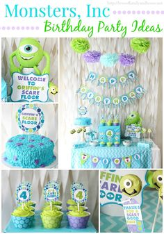 Monsters Inc./Monsters University inspired birthday party via Love of Family & Home.