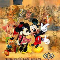 Disney Mickey & Minnie with various Disney characters