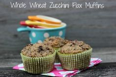 Whole Wheat Zucchini Flax Muffins | @mypinkmixerblog