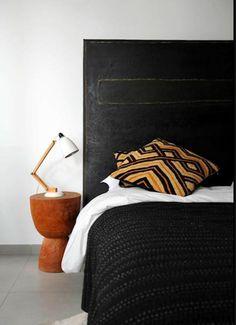 About Interior Decorating Design Geek Kuba Cloth by AphroChic / Bryan Mason Black Headboard, Black Bedding, Distressed Headboard, Painted Headboard, Home Bedroom, Bedroom Decor, Master Bedroom, Objet Deco Design, Cozy Bedroom