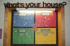 I made a bulletin board of the sorting house, their names were hot glued to push pins. Each section represented a house and listed positive traits of each house! I will have to see how many Harry Potter fans we have. Harry Potter Classes, Harry Potter Classroom, Harry Potter Room, Harry Potter Houses, Harry Potter Theme, Harry Potter Birthday, Hogwarts, Slytherin And Hufflepuff, Classroom Displays