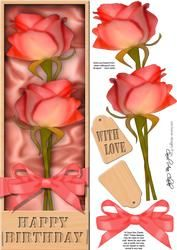 Large Dl Birthday Roses In A Box Quick Card 3D Decoupage