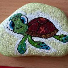 #taşboyama #tosba... Cute little turtle!