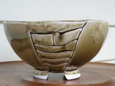 SALE Vintage Handmade Pottery Stoneware Footed by thinkbluesky, $18.00