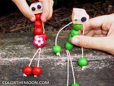 Kids Craft: DIY Wooden Bead Dolls - Color the Moon