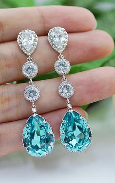 Light Turquoise Bridal Earrings from EarringsNation Turquoise Wedding Tiffany Blue Wedding