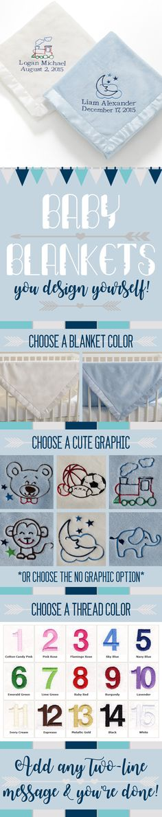 LOVE these personalized baby blankets you can design yourself! They're SO soft! You can pick an ivory or blue blanket and choose one of their cute graphics (sports, moon and stars, train, elephant, teddy bear, or monkey) - or you can opt to have no graphic - and they will embroider any 2-line message you want in your choice of 15 thread colors!LOVE This idea for my baby and will keep it in mind for the perfect new baby gift for family and friends! Especially great to have for newborn…