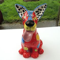 Original Handmade Ceramic Dog Sculpture by Dottie Dracos, Red - Made to Order on Etsy, $75.00