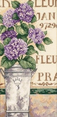 Hydrangea Flower Bees by Asian Ohara Koson Shoson Counted Cross Stitch Pattern