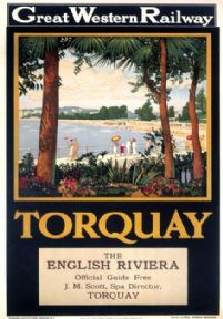 Great Western Railway poster produced in 1927 encouraging travel to Torquay which was promoted as the capital of the English Riviera Exotic colourful Travel English, British Travel, British Seaside, British Isles, Train Posters, Railway Posters, Agatha Christie, England Travel Poster, National Railway Museum