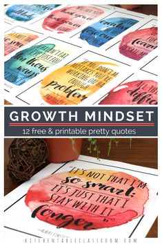 These free watercolor growth mindset quotes for kids are a great reminder to keep trying! Growth quotes perfect for encouraging growth mindset for kids! Growth Mindset Display, Growth Mindset For Kids, Growth Mindset Posters, Classroom Quotes, Classroom Bulletin Boards, Classroom Posters, Classroom Decor, Math Classroom, Free Printable Quotes
