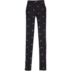 Giuseppe di Morabito Floral Embroidered Pinstripe Skinny Trousers ($390) ❤ liked on Polyvore featuring pants, black, super skinny pants, skinny trousers, pinstripe pants, skinny pants and mid rise pants