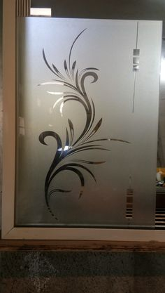 unit Under Staircase unit with mandir Glass Film Design, Window Glass Design, Frosted Glass Design, Frosted Glass Door, Sliding Glass Barn Doors, Glass Closet Doors, Glass Etching Designs, Glass Partition Designs, Etched Glass Door
