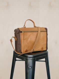 Wool & Leather Satchel Tan / Camel by UnionCityBags on Etsy