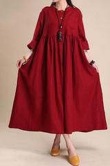Fabric:         Fabric has some stretchSeason:        Autumn, Spring, WinterType:          DressPattern Type:    PlainSleeve Length:  Long SleeveColor:          Dark Red,Green,Blue,BlackDresses Length: MaxiStyle:          CasualMaterial:       Cotton Lin