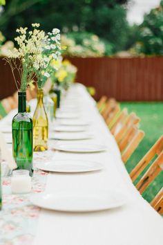 Back yard or casual style wedding table - eclectic and colorful! See the wedding on SMP: http://www.StyleMePretty.com/2014/02/25/picnic-style-wedding-at-casa-reta/ Merari Photography