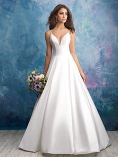 3ac49c551946e Satin simple ball gown wedding dress with spaghetti strap and V-neck. |  Allure