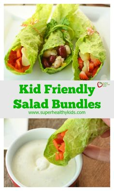 Kid Friendly Salad Bundles - If you've given up trying to get your kids to eat salad, there's still hope! http://www.superhealthykids.com/kid-friendly-salad-bundles/