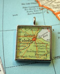 Toledo Ohio Map Pendant by ChellasCollection on Etsy, $21.00