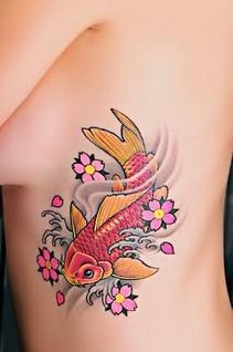 Koi Fish Tattoos for Girls--This is the exact tat ive been looking for. LOVE the colours!!