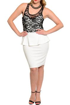 Plus Size Classy Fitted Sheer Lace Peplum Date Dress