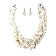 IPINK Women's Fashion Jewelry Pearl Multi-pearl Necklace Chokers Chains Earring Jewelry Set >>> Learn more by visiting the image link.