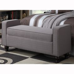 Taupe Upholstered Bench With Welt Trim - Overstock™ Shopping - Great Deals on Benches