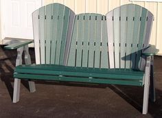 Amish Classic Poly 5' Loveseat Bench Adirondack style back comes in any color combination with fun colors available like Cherry Wood, White, Tudor Brown, Aruba, Beach Blue and more! Comes with warranty.