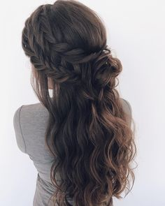 Braids ,boho stacked braids, updo hairstyles, wedding hair,twisted updo hairstyle #hairstyle #hairstyles #updo