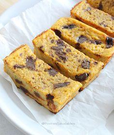 Postres Saludables | Pudín de banano y chispas de chocolate saludable | http://www.postressaludables.com