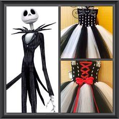 Nightmare Before Christmas inspired tutu dress. Jack Skellington black and white tutu dress