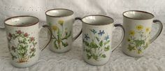 Vintage Set of 4 Counterpoint Wildflowers Mugs Violet Buttercup Dandelion Clover #Counterpoint
