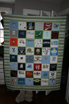 My daughter just informed me you can do this as a graduation gift for your teen...just use all of their sport/favorite shirts...great idea!