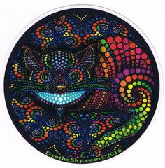 psychedelic Alice in Wonderland mini round sticker. Tumble down the rabbit hole with the electric psychedelic Cheshire cat. Weed Stickers, Face Stickers, Round Stickers, Trippy Store, Elephant Pictures, Kool Aid, Cheshire Cat, Psychedelic Art, Fantasy Artwork