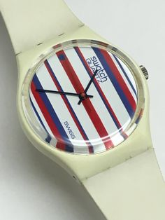 Swatch Watch Vintage GW100 Tennis Stripes 1983 Red White Blue Very Rare Retro Swatch Watch Christmas Gift by ThatIsSoFunny on Etsy