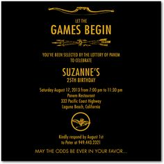 Games Begin, Hunger Games inspired party invite | Wiley Valentine for Tiny Prints