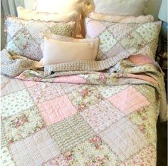 Double Queen Rag Bed Quilt Bedspread Set Shabby English Cabbage Pink Roses Chic