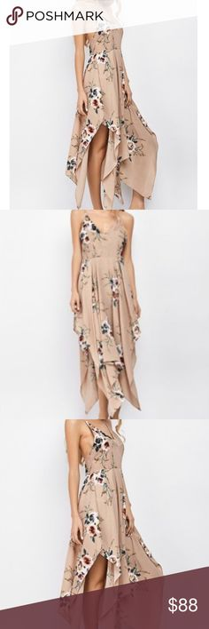 Tan Floral Bohemian Maxi Dress Cute Summer dress perfect for Summer time. A-Line Sleeveless ankle length. Material: Polyester. Dresses Maxi