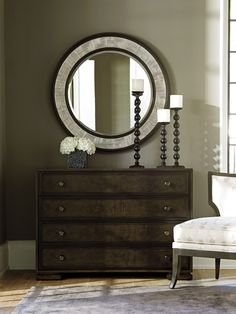 This Striking 40 Inch Diameter Mirror Features A Contemporized Greek Key Design Motif With Barclay Butera Interiors
