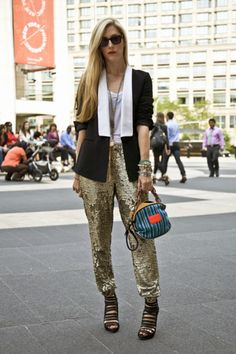 sequin pants mixing stripes with sequin texture